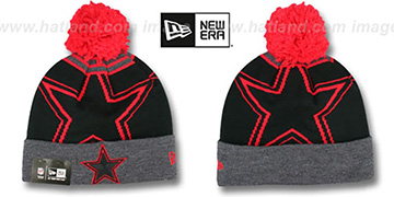 Cowboys LOGO WHIZ Black-Grey-Red Knit Beanie Hat by New Era