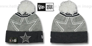 Cowboys 'LOGO WHIZ' Grey-Charcoal Knit Beanie Hat by New Era