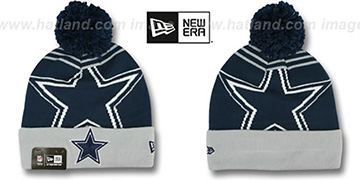 Cowboys 'LOGO WHIZ' Navy-Grey Knit Beanie Hat by New Era
