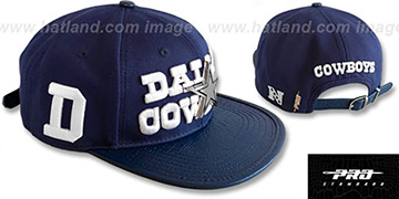 Cowboys 'METAL-BADGE STRAPBACK' Navy Hat by Pro Standard