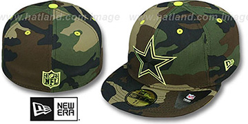 Cowboys 'NFL CAMO-POP' Army-Lime Fitted Hat by New Era