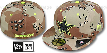 Cowboys NFL CAMO-POP Desert Storm-Lime Fitted Hat by New Era