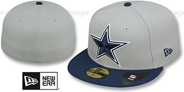 Cowboys NFL LOGO-GRAND Grey-Navy Fitted Hat by New Era