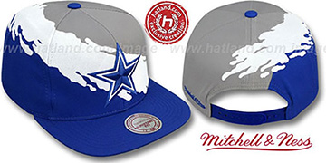 Cowboys 'PAINTBRUSH SNAPBACK' Grey-White-Royal Hat by Mitchell and Ness