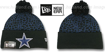 Cowboys 'PEBBLE-POP' Black-Navy Knit Beanie Hat by New Era