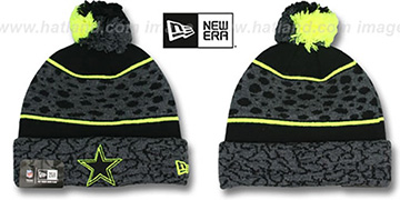 Cowboys 'POLAR PRINT' Black-Grey-Yellow Knit Beanie Hat by New Era