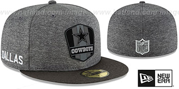 Cowboys ROAD ONFIELD STADIUM Charcoal-Black Fitted Hat by New Era