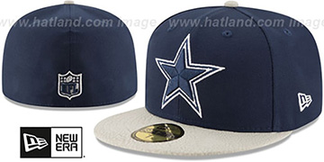 Cowboys RUGGED LEATHER Navy-Grey Fitted Hat by New Era