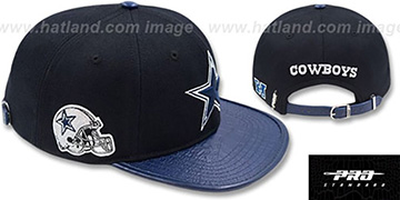 Cowboys 'SIDE HELMET STRAPBACK' Black-Navy Hat by Pro Standard