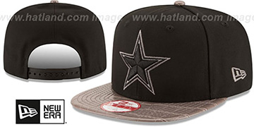 Cowboys SNAKESKINZ SNAPBACK Black-Taupe Hat by New Era