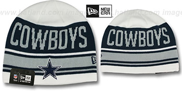 Cowboys 'SNOW-TOP SKULLIE' White Knit Beanie Hat by New Era
