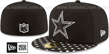 Cowboys 'STARRY' Black-White Fitted Hat by New Era