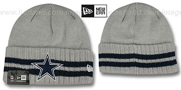 Cowboys STRIPED CUFF Grey Knit Beanie Hat by New Era