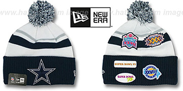 Cowboys 'SUPER BOWL PATCHES' White-Navy Knit Beanie Hat by New Era