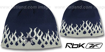 Cowboys 'TEAM FLAME' Navy Cuffless Beanie Hat