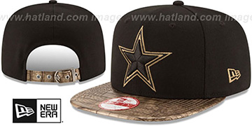 Cowboys 'TEAM-LUXE STRAPBACK' Black-Gold Hat by New Era