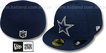 Cowboys TONAL WORD Navy Fitted Hat by New Era