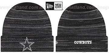Cowboys 'TOUCHDOWN' Black-White Knit Beanie Hat by New Era