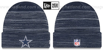 Cowboys TOUCHDOWN Navy-Grey Knit Beanie Hat by New Era
