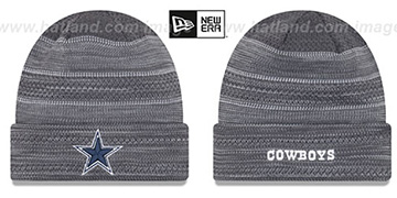 Cowboys 'TOUCHDOWN' Grey-White Knit Beanie Hat by New Era