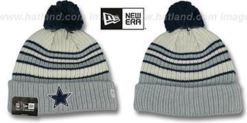 Cowboys TRADITIONAL STRIPED White-Grey Knit Beanie Hat by New Era
