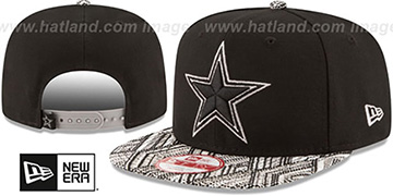 Cowboys TRICKED-TRIM STRAPBACK Black Hat by New Era