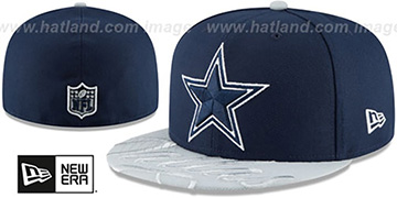 Cowboys VISOR-SCRIPT Navy-Grey Fitted Hat by New Era