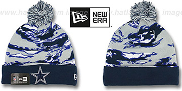 Cowboys 'WINTER SAFARI' Navy-Grey Knit Beanie Hat by New Era