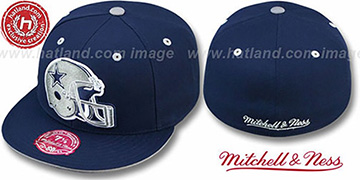 Cowboys 'XL-HELMET' Navy Fitted Hat by Mitchell & Ness