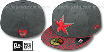 Cowboys 'ZEBRA ANI-VIZE' Grey-Red Fitted Hat by New Era
