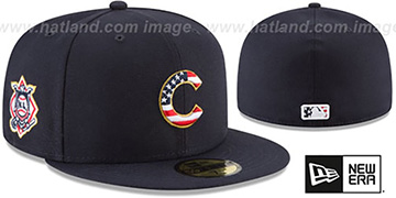 Cubs 2018 JULY 4TH STARS N STRIPES Navy Fitted Hat by New Era