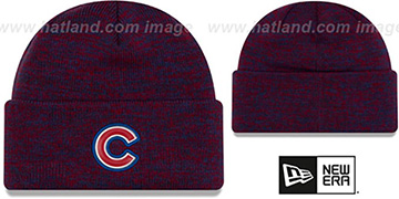 Cubs 'BEVEL' Royal-Red Knit Beanie Hat by New Era