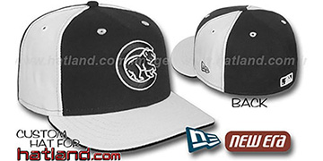 Cubs BP PINWHEEL Black-White Fitted Hat by New Era