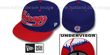 Cubs CITY-SCRIPT Royal-Red Fitted Hat by New Era