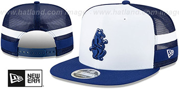 Cubs COOPERSTOWN SIDE-STRIPED TRUCKER SNAPBACK Hat by New Era