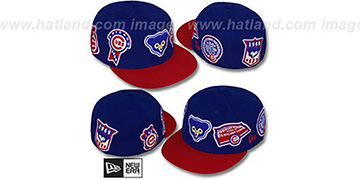 Cubs 'DEEZ PATCHES' Royal-Red Fitted Hat by New Era