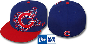Cubs 'DUBCHA' Royal-Red Fitted Hat by New Era