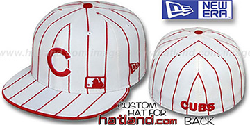 Cubs FABULOUS White-Red Fitted Hat by New Era