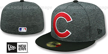 Cubs HEATHER-HUGE Grey-Black Fitted Hat by New Era