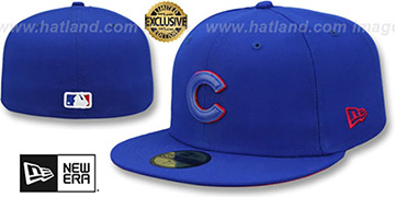 Cubs LEATHER POP Royal Fitted Hat by New Era