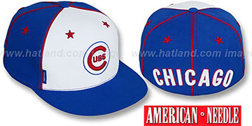 Cubs 'SUPERFLY' White-Royal Fitted Hat by American Needle