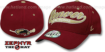 Denver 'SWOOP LACROSSE' Burgundy Fitted Hat by Zephyr