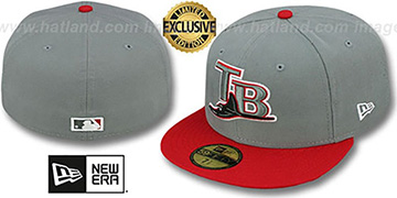 Devil Rays 2T OPPOSITE-TEAM Grey-Red Fitted Hat by New Era