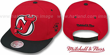 Devils '2T XL-LOGO SNAPBACK' Red-Black Adjustable Hat by Mitchell & Ness