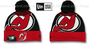 Devils 'LOGO WHIZ' Black-Red Knit Beanie Hat by New Era