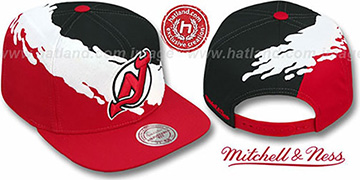 Devils 'PAINTBRUSH SNAPBACK' Black-White-Red Hat by Mitchell and Ness
