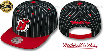 Devils PINSTRIPE 2T TEAM-BASIC SNAPBACK Black-Red Adjustable Hat by Mitchell & Ness
