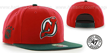 Devils 'SURE-SHOT SNAPBACK' Red-Green Hat by Twins 47 Brand
