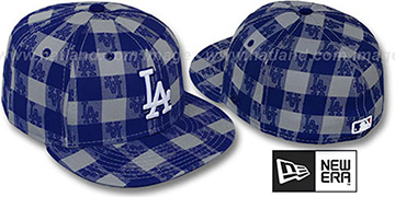 Dodgers  'BUFFALO PLAID' Grey-Royal Fitted Hat by New Era