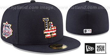 Dodgers '2018 JULY 4TH STARS N STRIPES' Navy Fitted Hat by New Era